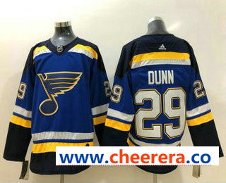 Men's St. Louis Blues #29 Vince Dunn Blue 2017-2018 Hockey Stitched NHL Jersey