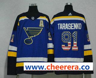 Men's St. Louis Blues #91 Vladimir Tarasenko Blue With A Patch 2017-2018 Hockey Stitched NHL Jersey