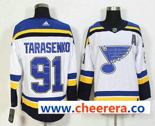 Men's St. Louis Blues #91 Vladimir Tarasenko White Witch A Patch 2017-2018 Hockey Stitched NHL Jersey