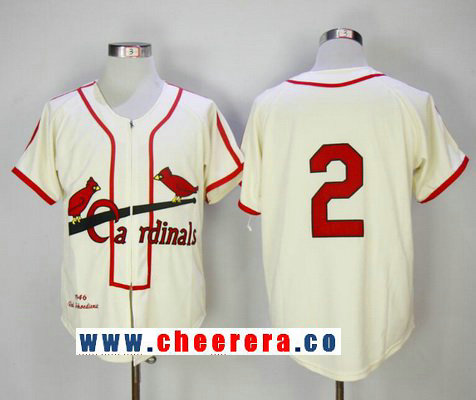 Men's St. Louis Cardinals #2 Red Schoendienst Cream Zipper 1946 Throwback Cooperstown Collection Stitched MLB Mitchell & Ness Jersey