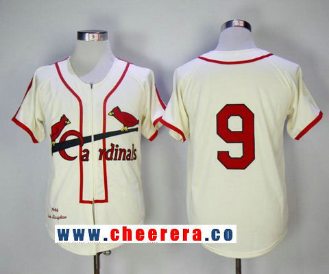 Men's St. Louis Cardinals #9 Enos Slaughter Cream Zipper 1946 Throwback Cooperstown Collection Stitched MLB Mitchell & Ness Jersey