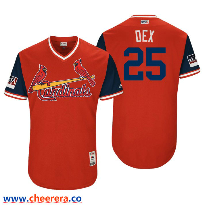 Men's St. Louis Cardinals Authentic Dexter Fowler #25 Red 2018 LLWS Players Weekend Dex Jersey