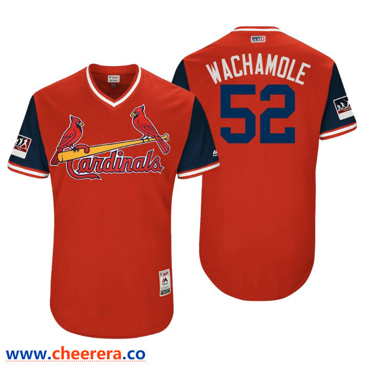 Men's St. Louis Cardinals Authentic Michael Wacha #52 Red 2018 LLWS Players Weekend Wachamole Jersey