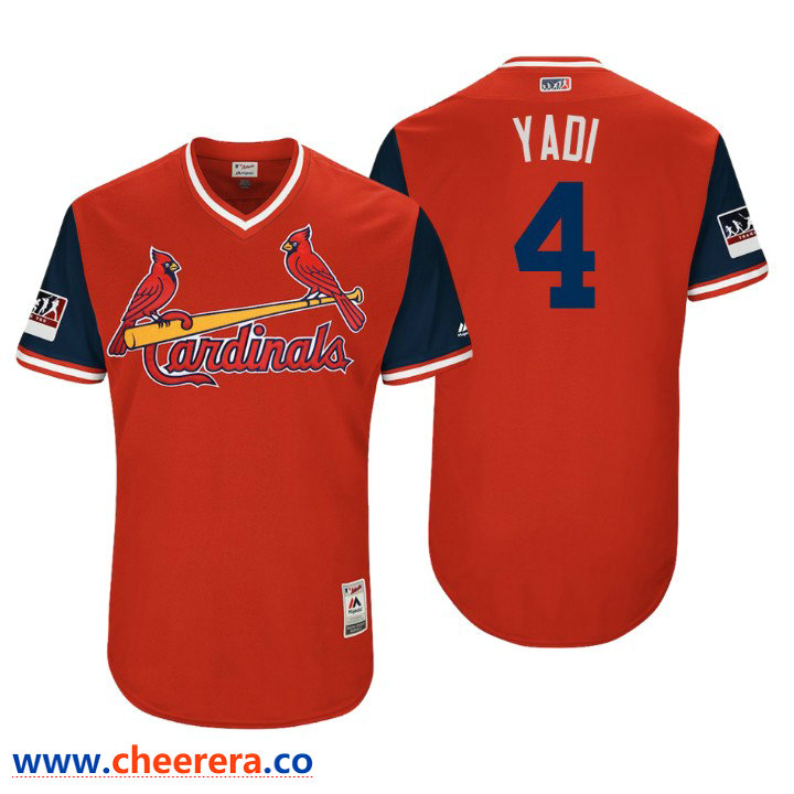 Men's St. Louis Cardinals Authentic Yadier Molina #4 Red 2018 LLWS Players Weekend Yadi Jersey
