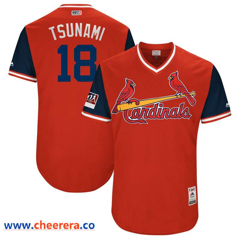 Men's St. Louis Cardinals Carlos Martinez Tsunami Majestic Red-Navy 2018 Players' Weekend Authentic Jersey