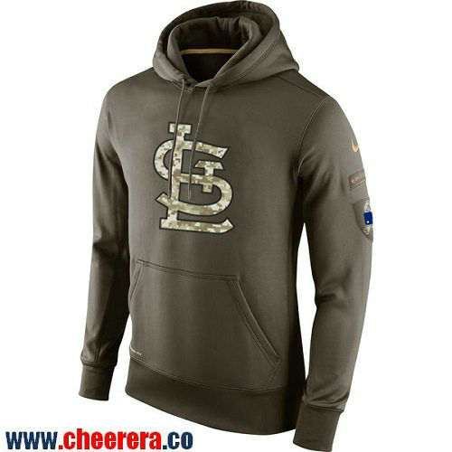 Men's St. Louis Cardinals Nike Olive Green Salute To Service MLB KO Performance Hoodie