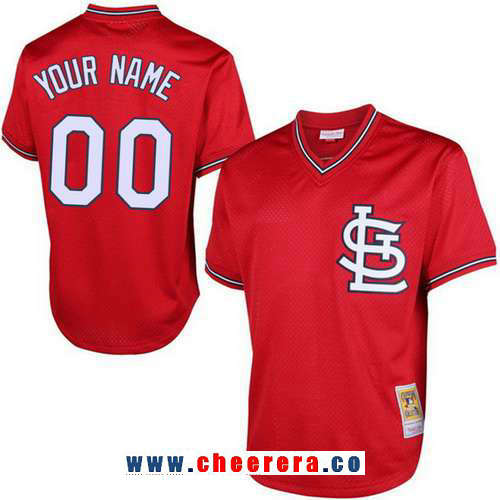 Men's St. Louis Cardinals Red Mesh Batting Practice Throwback Majestic Cooperstown Collection Custom Baseball Jersey
