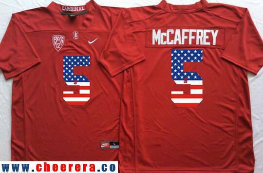 Men's Standford Cardinals #5 Christian McCaffrey Red USA Flag Fashion Stitched Nike NCAA Jersey