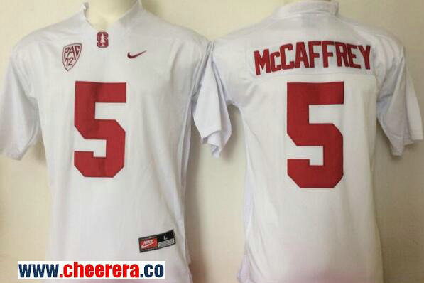 Men's Standford Cardinals #5 Christian McCaffrey White Stitched College Football Nike NCAA Jersey