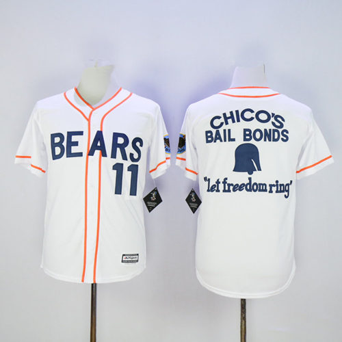 Men's Stitched Bad News BEARS Movie Chicos Bail Bonds Retro #11 Button Down Baseball Jersey