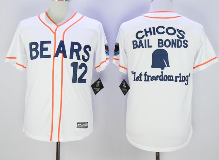 Men's Stitched Bad News BEARS Movie Chicos Bail Bonds Retro #12 Button Down Baseball Jersey