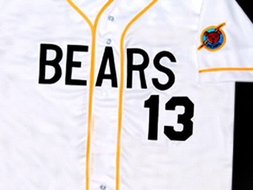 Men's Stitched Bad News BEARS Movie Chicos Bail Bonds Retro #13 Button Down Baseball Jersey