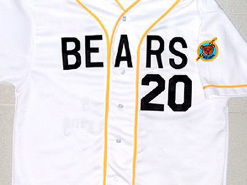 Men's Stitched Bad News BEARS Movie Chicos Bail Bonds Retro #20 Button Down Baseball Jersey