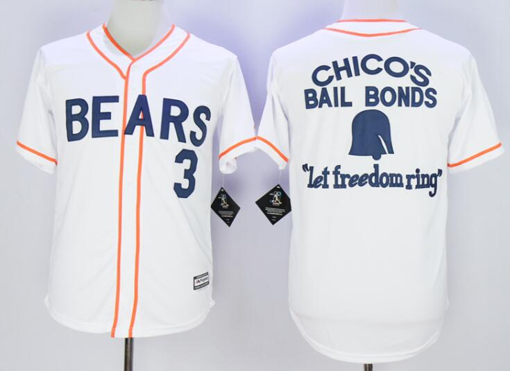 Men's Stitched Bad News BEARS Movie Chicos Bail Bonds Retro #3 Button Down Baseball Jersey