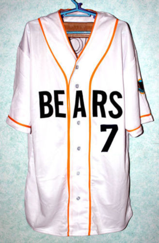Men's Stitched Bad News BEARS Movie Chicos Bail Bonds Retro #7 Button Down Baseball Jersey