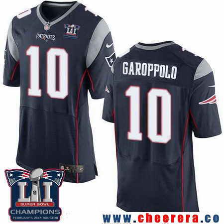 Men's Stitched New England Patriots #10 Jimmy Garoppolo Navy Blue 2017 Super Bowl LI Champions Patch NFL Nike Elite Jersey