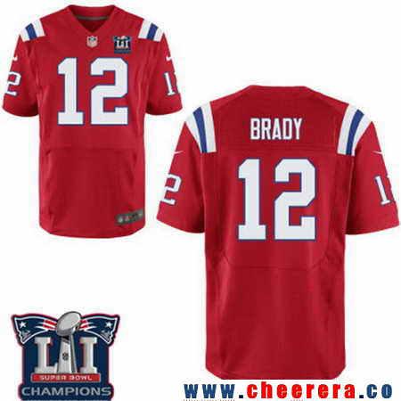 Men's Stitched New England Patriots #12 Tom Brady Red 2017 Super Bowl LI Champions Patch NFL Nike Elite Jersey