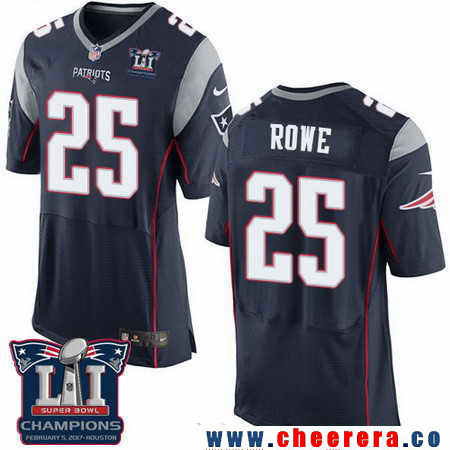 Men's Stitched New England Patriots #25 Eric Rowe Blue 2017 Super Bowl LI Champions Patch NFL Nike Elite Jersey