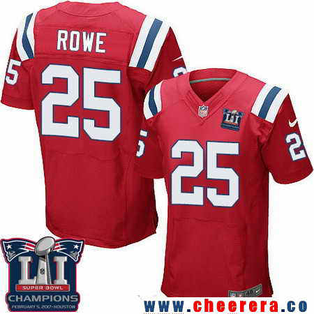 Men's Stitched New England Patriots #25 Eric Rowe Red 2017 Super Bowl LI Champions Patch NFL Nike Elite Jersey
