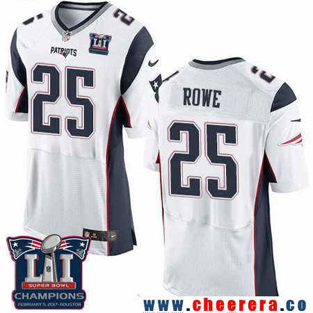 Men's Stitched New England Patriots #25 Eric Rowe White 2017 Super Bowl LI Champions Patch NFL Nike Elite Jersey