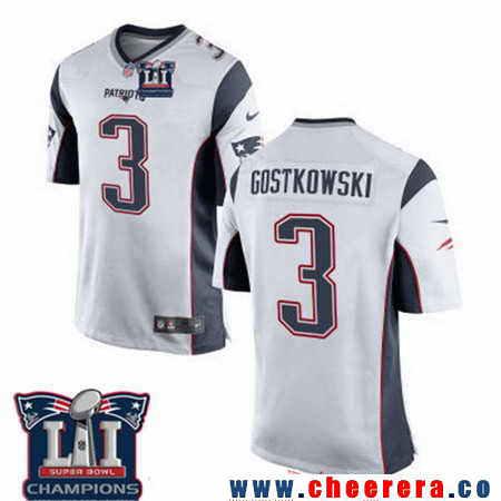 Men's Stitched New England Patriots #3 Stephen Gostkowski White 2017 Super Bowl LI Champions Patch NFL Nike Elite Jersey