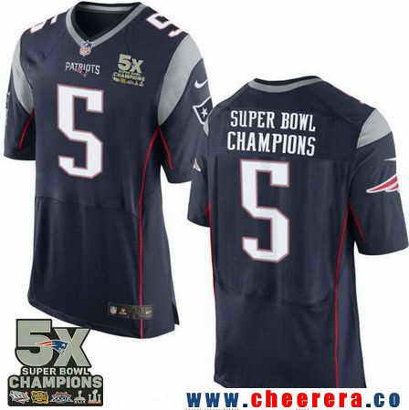 Men's Stitched New England Patriots #5 Super Bowl Champions Navy Blue 5X Patch NFL Nike Elite Jersey