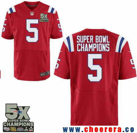 Men's Stitched New England Patriots #5 Super Bowl Champions Red 5X Patch NFL Nike Elite Jersey