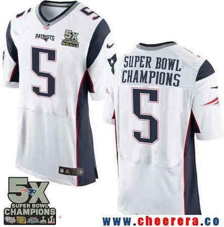 Men's Stitched New England Patriots #5 Super Bowl Champions White 5X Patch NFL Nike Elite Jersey