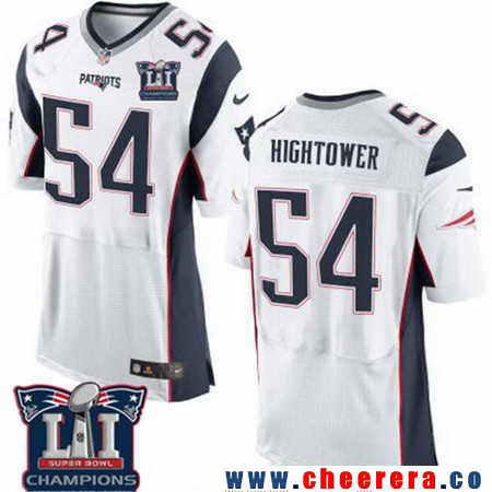 Men's Stitched New England Patriots #54 Dont'a Hightower White 2017 Super Bowl LI Champions Patch NFL Nike Elite Jersey