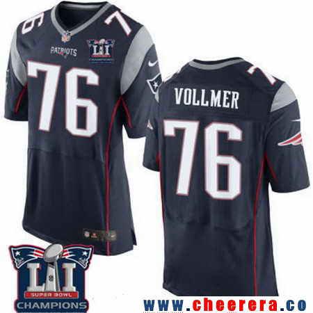 Men's Stitched New England Patriots #76 Sebastian Vollmer Blue 2017 Super Bowl LI Champions Patch NFL Nike Elite Jersey