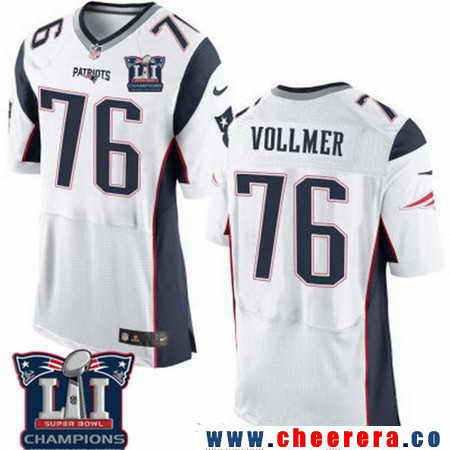 Men's Stitched New England Patriots #76 Sebastian Vollmer White 2017 Super Bowl LI Champions Patch NFL Nike Elite Jersey