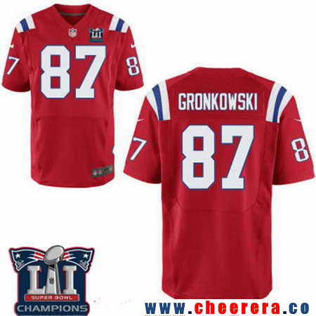 Men's Stitched New England Patriots #87 Rob Gronkowski Red 2017 Super Bowl LI Champions Patch NFL Nike Elite Jersey