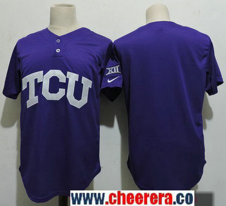Men's TCU Horned Frogs Blank Purple College Baseball Stitched Nike NCAA Jersey