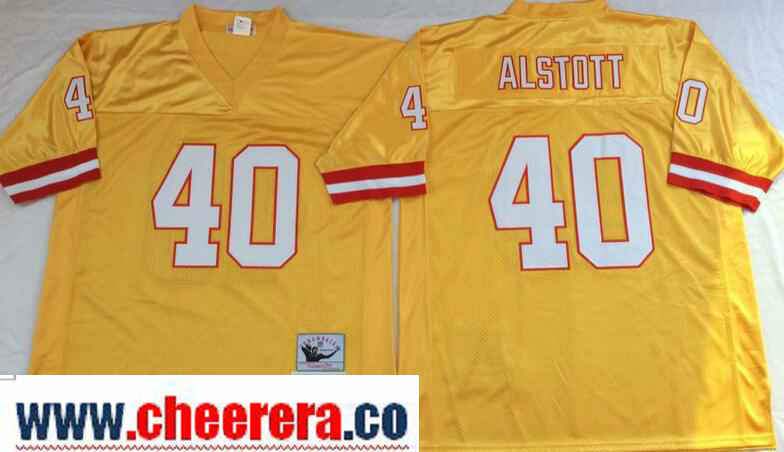 Men's Tampa Bay Buccaneers #40 Mike Alstott Gold Throwback Jersey by Mitchell & Ness