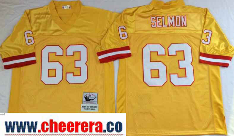 Men's Tampa Bay Buccaneers #63 Lee Roy Selmon Gold Throwback Jersey by Mitchell & Ness