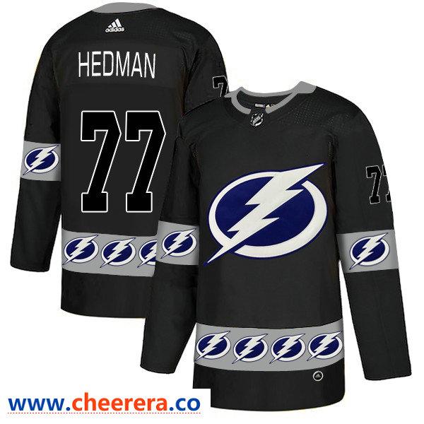 Men's Tampa Bay Lightning #77 Victor Hedman Black Team Logos Fashion Adidas Jersey