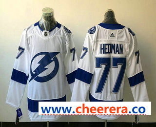 Men's Tampa Bay Lightning #77 Victor Hedman White 2017-2018 Hockey Stitched NHL Jersey