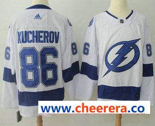 Men's Tampa Bay Lightning #86 Nikita Kucherov White 2017-2018 Hockey Stitched NHL Jersey