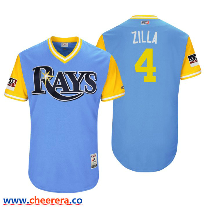 Men's Tampa Bay Rays Authentic Blake Snell #4 Light Blue 2018 LLWS Players Weekend Zilla Jersey