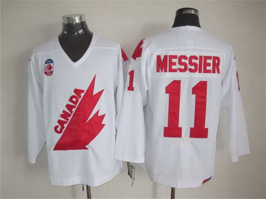 Men's Team Canada #11 Mark Messier 1991 Olympic White CCM Vintage Throwback Jersey