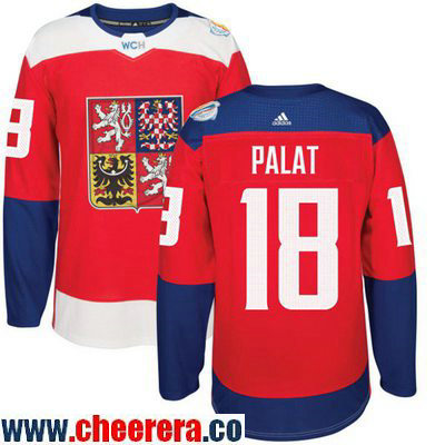 Men's Team Czech Republic #18 Ondrej Palat Red 2016 World Cup of Hockey Stitched adidas WCH Game Jersey