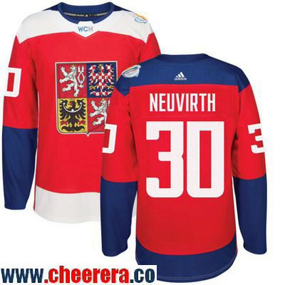 Men's Team Czech Republic #30 Michal Neuvirth Red 2016 World Cup of Hockey Stitched adidas WCH Game Jersey