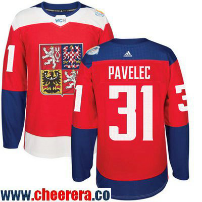 Men's Team Czech Republic #31 Ondrej Pavelec Red 2016 World Cup of Hockey Stitched adidas WCH Game Jersey