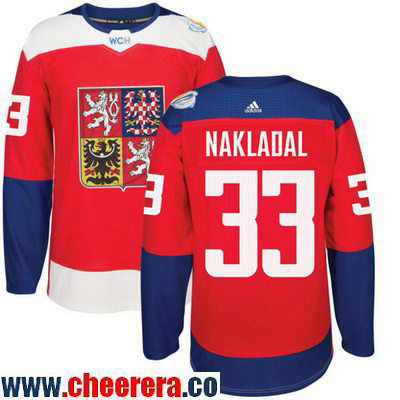 Men's Team Czech Republic #33 Jakub Nakladal Red 2016 World Cup of Hockey Stitched adidas WCH Game Jersey