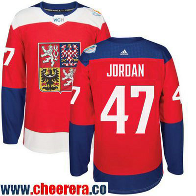 Men's Team Czech Republic #47 Michal Jordan Red 2016 World Cup of Hockey Stitched adidas WCH Game Jersey