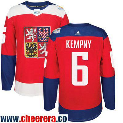 Men's Team Czech Republic #6 Michal Kempny Red 2016 World Cup of Hockey Stitched adidas WCH Game Jersey