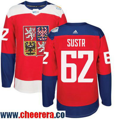 Men's Team Czech Republic #62 Andrej Sustr Red 2016 World Cup of Hockey Stitched adidas WCH Game Jersey
