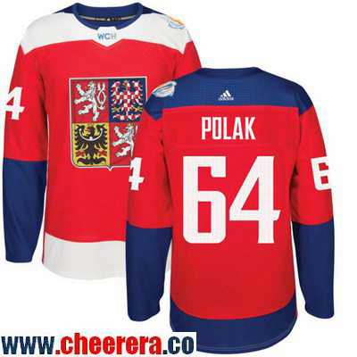 Men's Team Czech Republic #64 Roman Polak Red 2016 World Cup of Hockey Stitched adidas WCH Game Jersey