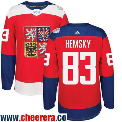 Men's Team Czech Republic #83 Faksa Hemsky Red 2016 World Cup of Hockey Stitched adidas WCH Game Jersey