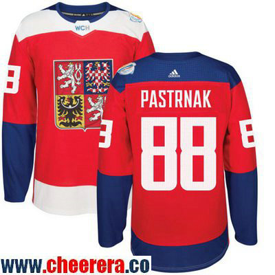 Men's Team Czech Republic #88 David Pastrnak Red 2016 World Cup of Hockey Stitched adidas WCH Game Jersey